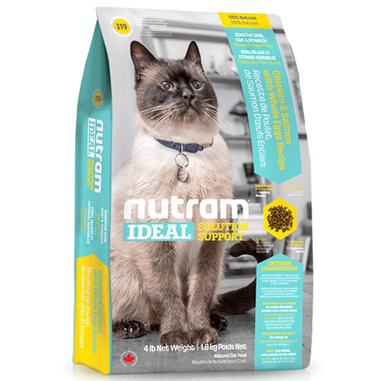 I19 Nutram Ideal Sensitive Skin, Coat & Stomach Cat